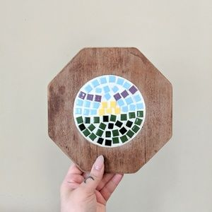 2 for $20 / Abstract Tile Wooden Pot Holder
